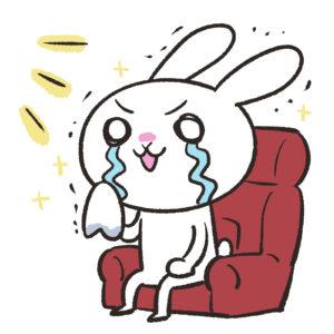 映画館で感動の涙を流すウサギ